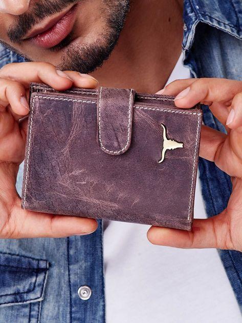 Brązowy portfel męski skórzany z przetarciami