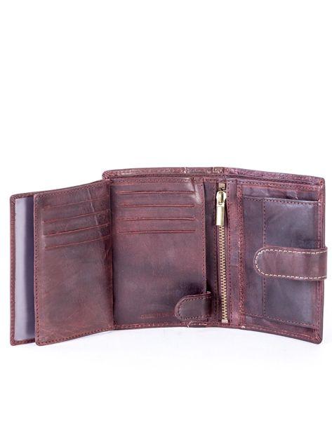 Brązowy portfel męski ze skóry z pionowym tłoczeniem                              zdj.                              6