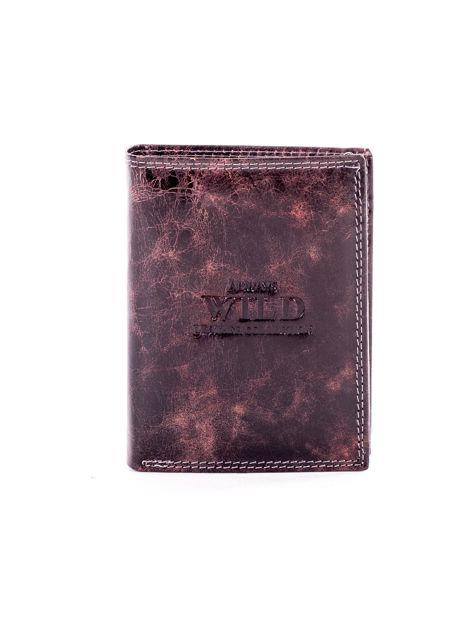 Brązowy portfel męski ze skóry z przetarciami                              zdj.                              1