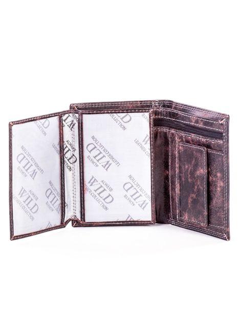 Brązowy portfel męski ze skóry z przetarciami                              zdj.                              5