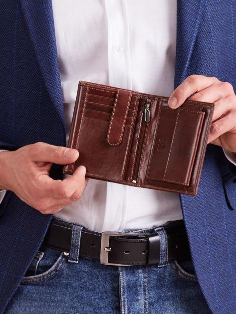 Brązowy portfel skórzany męski pionowy                              zdj.                              3