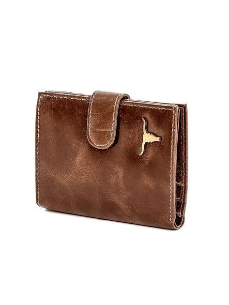 Brązowy portfel skórzany z cieniowaniem i zapięciem na zatrzask                              zdj.                              3