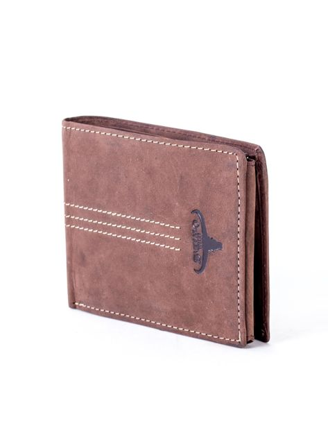 Brązowy portfel skórzany z emblematem i przeszyciami                              zdj.                              3