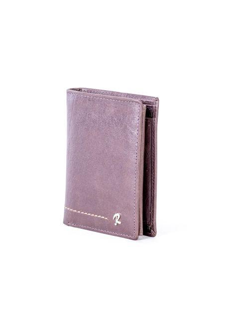 Brązowy portfel skórzany z przeszyciem                              zdj.                              3