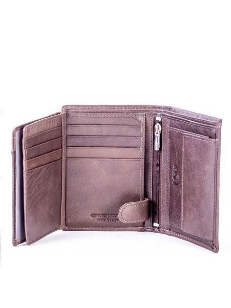 Brązowy portfel skórzany z przeszyciem                              zdj.                              6