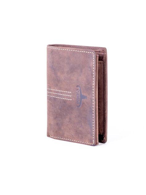 Brązowy portfel skórzany z tłoczeniem i przeszyciami                              zdj.                              3