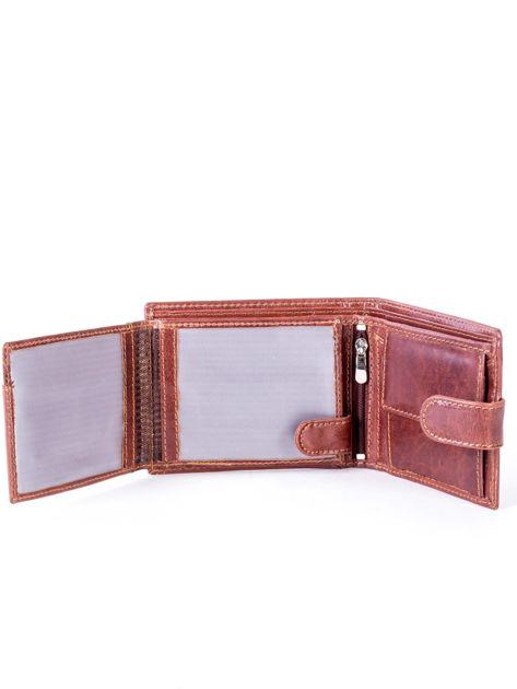 Brązowy portfel skórzany z zapięciem                              zdj.                              5