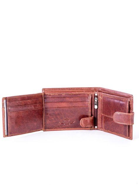 Brązowy portfel skórzany z zapięciem                              zdj.                              6