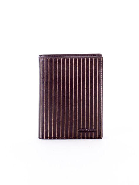 Brązowy portfel ze skóry naturalnej w paski                              zdj.                              1