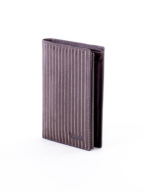Brązowy portfel ze skóry naturalnej w paski                              zdj.                              3