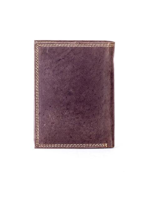 Brązowy portfel ze skóry naturalnej z tłoczeniem                              zdj.                              2