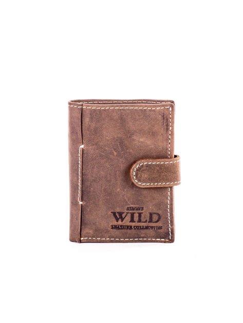Brązowy portfel ze skóry z klapką                              zdj.                              1