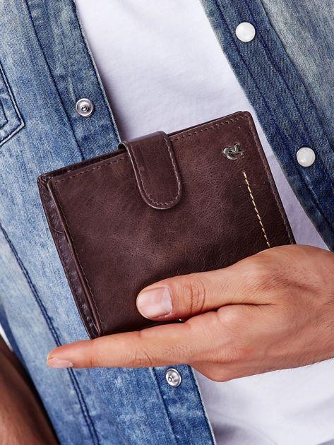 Brązowy rozkładany portfel ze skóry                              zdj.                              5