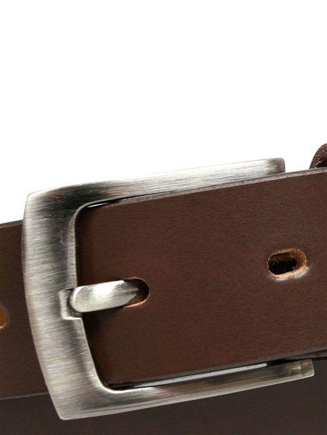 Brązowy skórzany pasek męski z metalową klamrą                              zdj.                              5