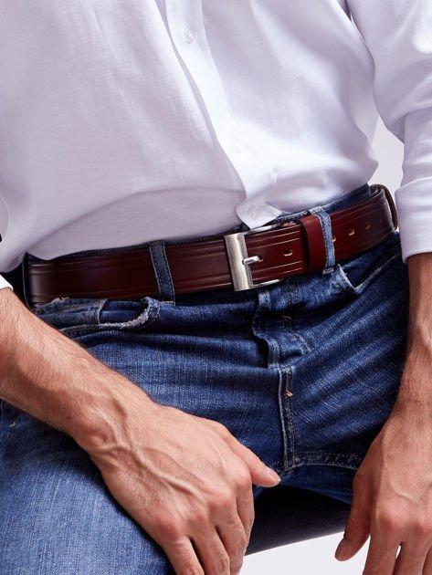 Brązowy skórzany pasek męski z przeszyciami                              zdj.                              4