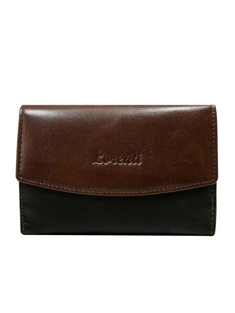 Brązowy skórzany portfel damski dwustronny