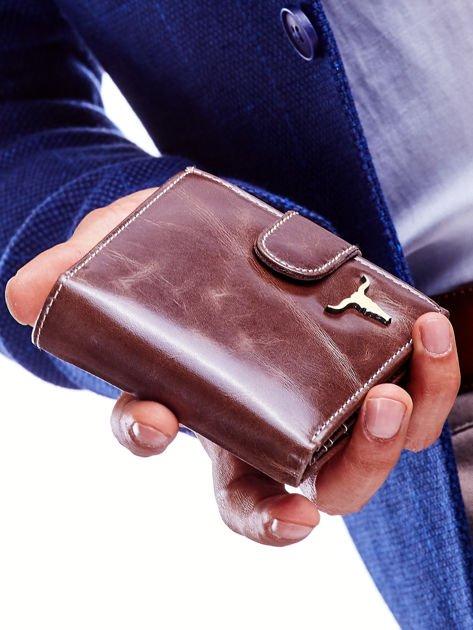 Brązowy skórzany portfel dla mężczyzny cieniowany                              zdj.                              4