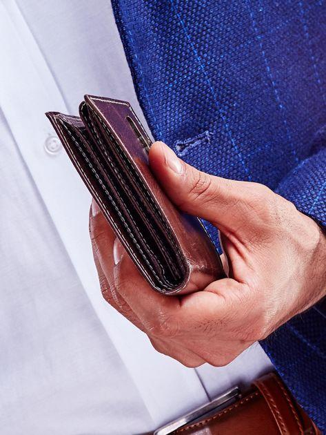Brązowy skórzany portfel męski                              zdj.                              4