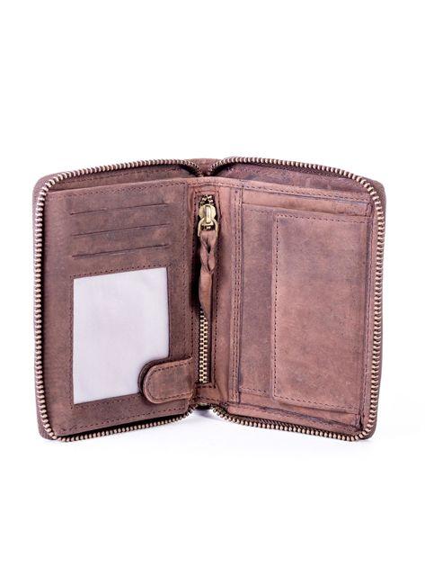 Brązowy skórzany portfel męski na suwak                              zdj.                              4