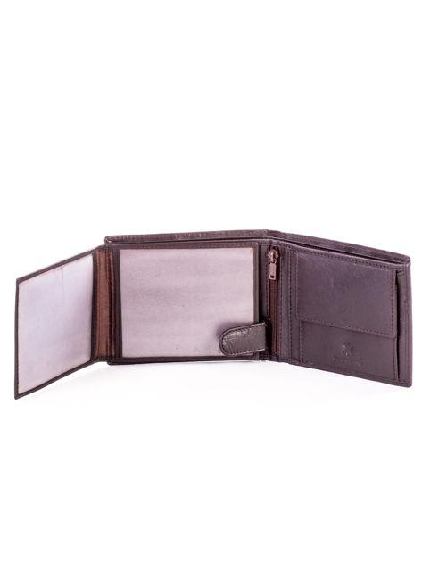 Brązowy skórzany portfel męski w tłoczone paski                               zdj.                              5