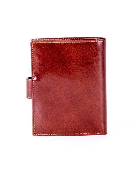 Brązowy skórzany portfel na zatrzask                              zdj.                              2