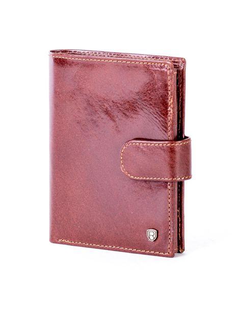 Brązowy skórzany portfel na zatrzask                              zdj.                              3