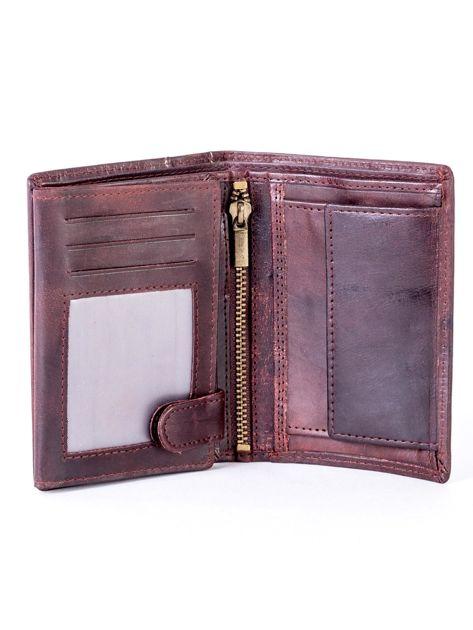 Brązowy skórzany portfel z pionowym tłoczeniem                              zdj.                              4