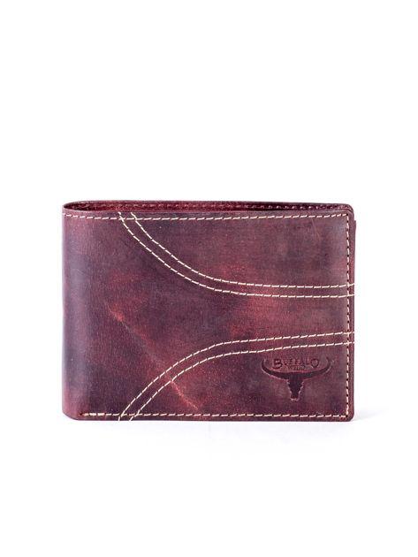Brązowy skórzany portfel z symetrycznymi przeszyciami                              zdj.                              1
