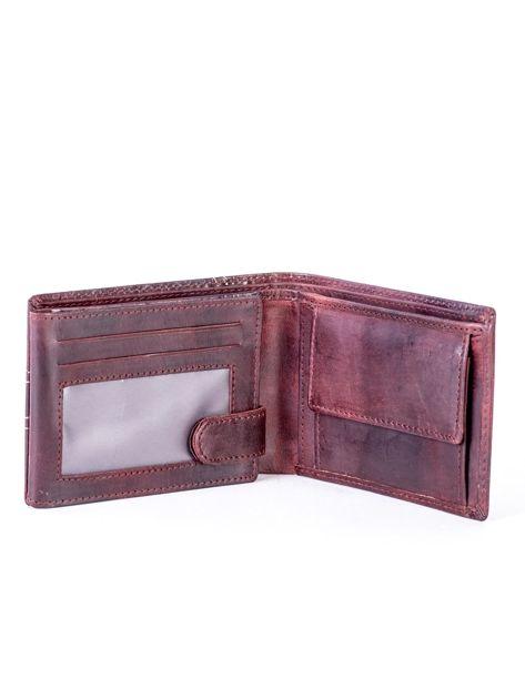Brązowy skórzany portfel z symetrycznymi przeszyciami                              zdj.                              4