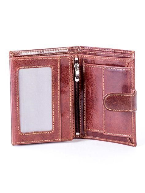Brązowy skórzany portfel z tłoczeniem i zapięciem na zatrzask                              zdj.                              4