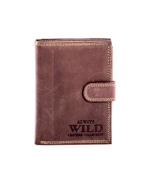 Brązowy skórzany portfel z tłoczonym napisem                              zdj.                              1