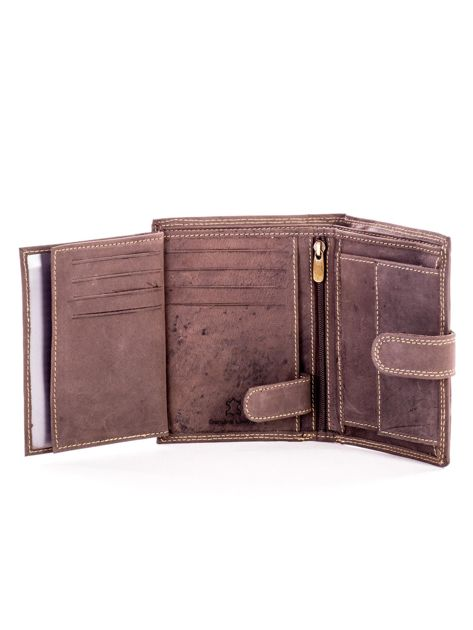 Brązowy skórzany portfel z tłoczonym napisem                              zdj.                              6