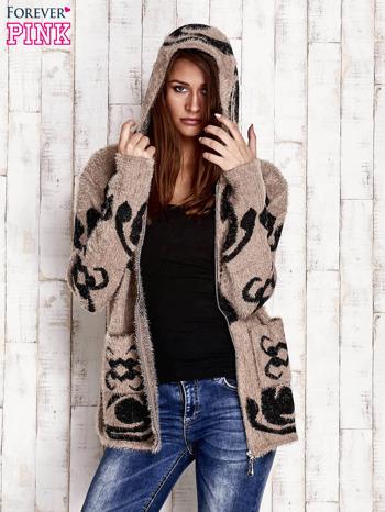 Brązowy sweter long hair z ornamentowym motywem                                  zdj.                                  5