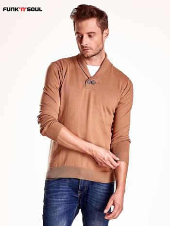 Brązowy sweter męski z guzikami FUNK N SOUL                                  zdj.                                  2