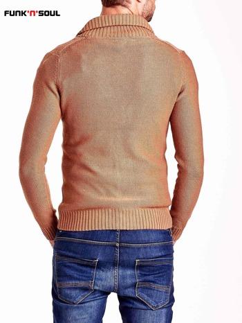 Brązowy sweter męski zapinany na guziki FUNK N SOUL                                  zdj.                                  3