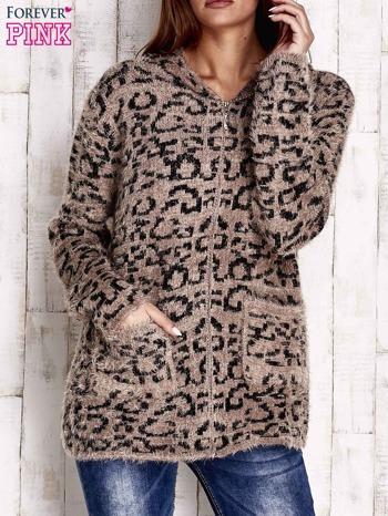Brązowy sweter zapinany na suwak                                  zdj.                                  1