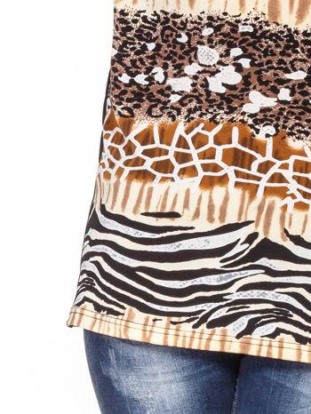 Brązowy t-shirt z motywem zwierzęcym                                  zdj.                                  5