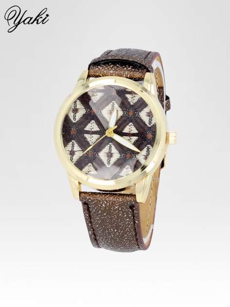 Brązowy zegarek damski ze złotą kopertą i etno tarczą                                  zdj.                                  2