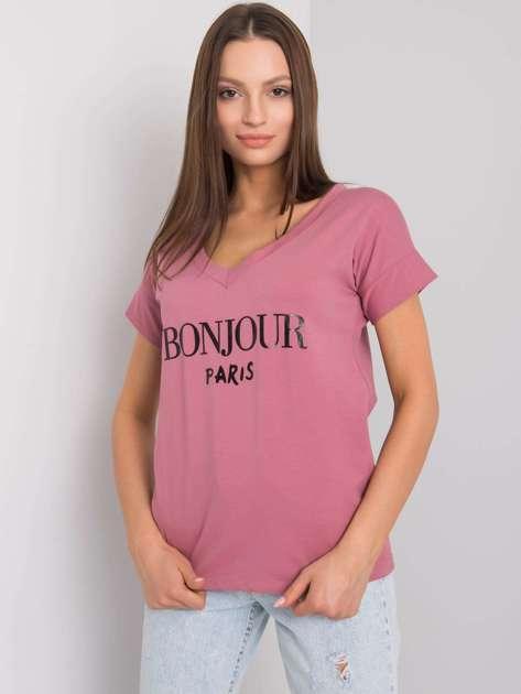 Brudnoróżowy t-shirt z napisem Emille