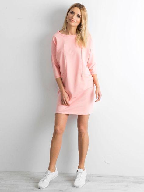 Brzoskwiniowa bawełniana sukienka                              zdj.                              4