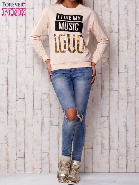 Brzoskwiniowa bluza z napisem I LIKE MY MUSIC LOUD                                  zdj.                                  4