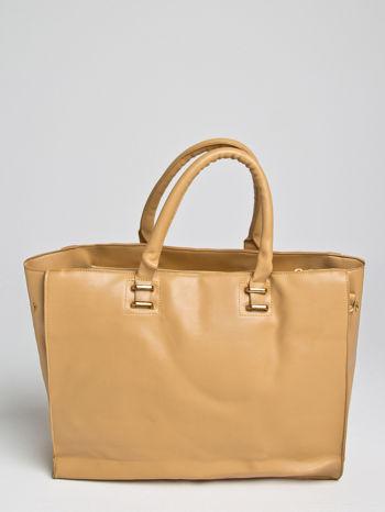 Camelowa torba shopper bag z rączką