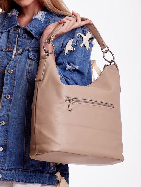 Camelowa torba z łączonych materiałów                              zdj.                              5