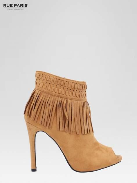 Camelowe botki faux suede Suzie open toe z frędzlami w stylu boho                                  zdj.                                  2