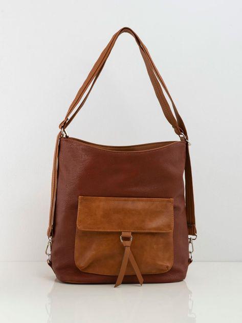 Camelowo-brązowa torba z kieszenią