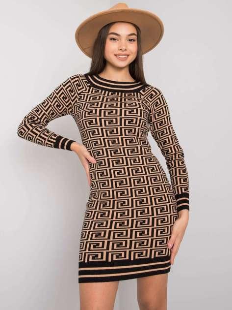 Camelowo-czarna wzorzysta sukienka z dzianiny Montrose OCH BELLA