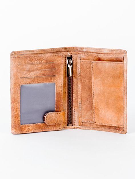 Camelowy cieniowany portfel ze skory naturalnej                              zdj.                              4