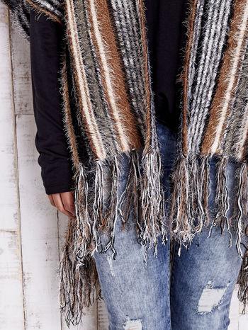 Camelowy sweter poncho z frędzlami                                   zdj.                                  7