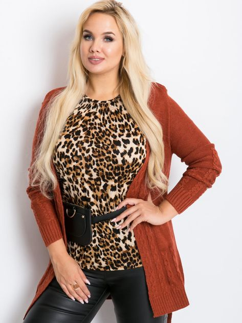 Ceglasty sweter plus size Vibe