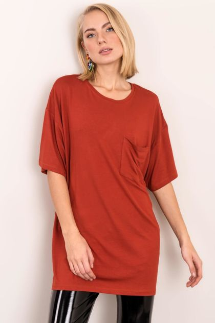 Ceglasty t-shirt oversize BSL